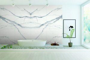 Badezimmer Fliesendesign Calacatta – Porcela Bobo